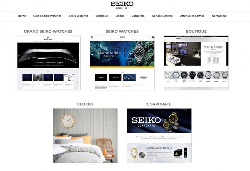 Screenshot of Seiko Australian Homepage